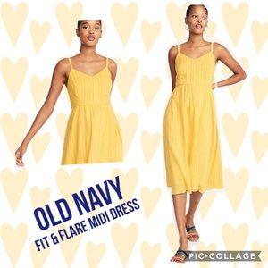 Old Navy Fit & Flare Striped Cami Midi Dress- M
